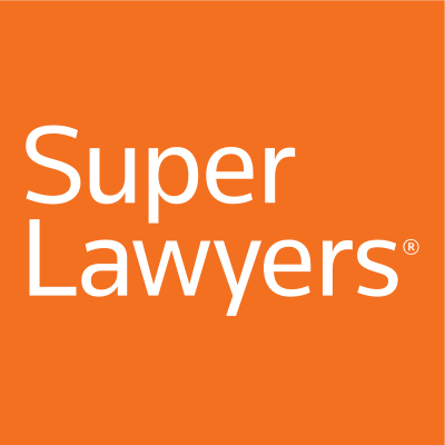 orange background with white text reading super lawyers