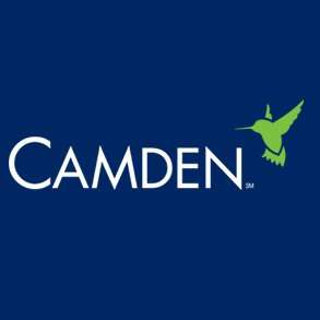"""Blue background with white text reading """"Camden"""" and a green hummingbird outline overtop"""